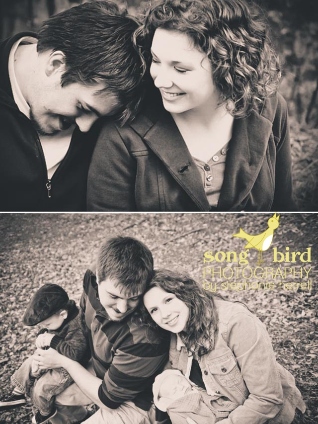 Songbird Photography by Stephanie Herrell | The top image is from their engagement session a few years ago. The bottom is their recently expanded family!